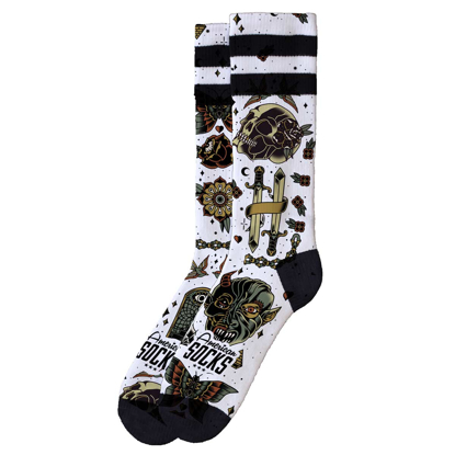 AMERICAN SOCKS ARMSTRONG MID HIGH WHT/BLK S/M