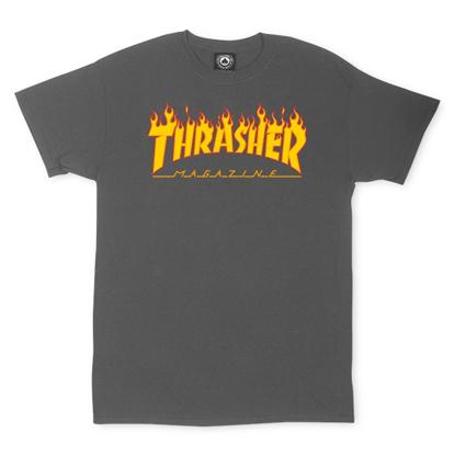 THRASHER MAGAZINE FLAME T-SHIRT CHARCOAL M