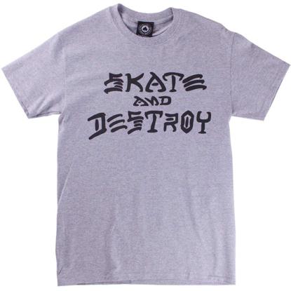 THRASHER MAGAZINE SKATE AND DESTROY S/S GRY L