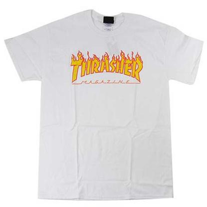 THRASHER MAGAZINE FLAME S/S WHT S