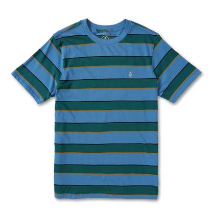 VOLCOM KEATES STRIPE CREW T-SHIRT BALLPOINT BLUE M
