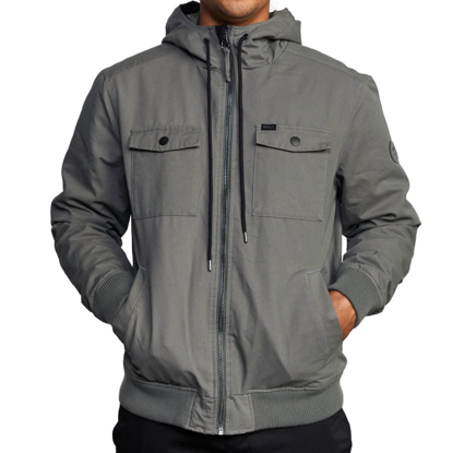 RVCA HOODED BOMBER 2 OLIVE M