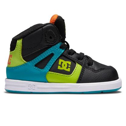 DC PURE HIGH-TOP KID BLACK/GREEN/ORANGE 10T